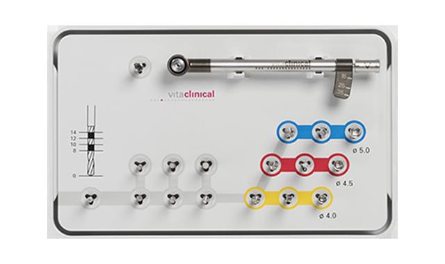 Das surgical tray enthält alle erforderlichen Instrumente und Bohrer zur Insertion des ceramic implant